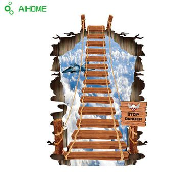 3D Stairs Personality Fashion Creative Ladder Sky Wall Stickers Plane Printing Abstract Poster For Home Decor Living Room