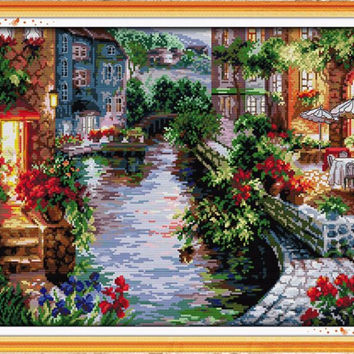 Needlework Counted Cross Stitch Set Embroidery Cross Kit 14CT Lakeside Houses Pattern