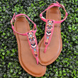 SZ 5.5 Indian Hills Pink Beaded Sandals
