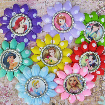 Disney Princess hair clip disney princess flower polka dots headband bottle cap party favor stocking stuffer holiday purple cute girls