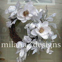 White Christmas Wreath, Silver Holiday Decorations, Winter Wonderland, Magnolia Flowers on Grapevine, Chanukkah Decor, Glitzy and Glamourous