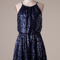 Starry Night Sequin Dress - Midnight Blue