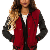 Obey Jacket Wool Varsity in Red Black
