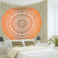 Mandala Tapestries, Ombre Mandala Tapestry,Bohemian wall Hanging, Boho Tapestries, Beach Blanket Throw, Hippy Hippie Mandala, Dorm Tapestry