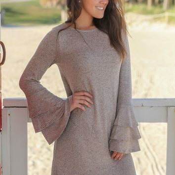 Taupe Short Dress with Ruffle Bell Sleeves
