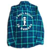 I Don't Believe In Humans Flannel- Blue