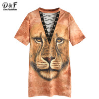 Lion Print Summer Dress Women Yellow Sexy Eyelet Lace Up Novelty Tee Dresses Fashion Cut Out Casual Shift Dress