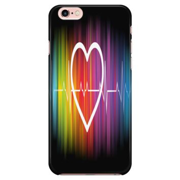 LGBT iPhone Case Rainbow Heart Beat Pulse