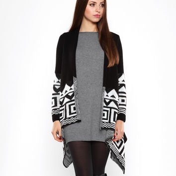 Aztec Print Black Waterfall Cardigan
