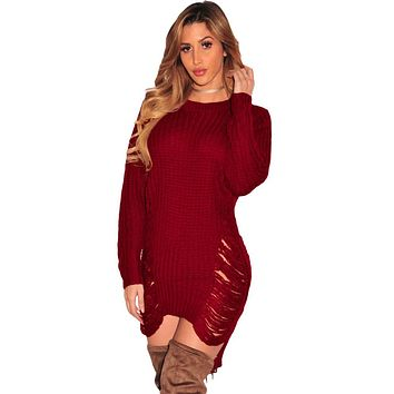 Chicloth Red Ripped Knit Long Sleeves Sweater
