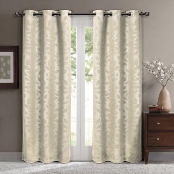 Beige Virginia Blackout Grommet Curtain Panels (Two Panels)
