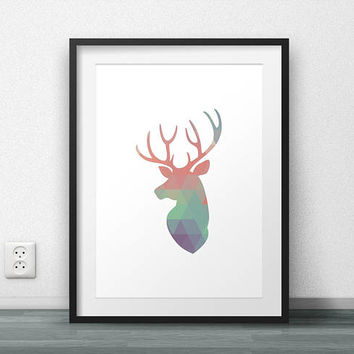 Deer Print, Deer Head, Antlers, Stag, Geometric Art, Minimal Poster, Scandinavian, Nordic, Printable art, Home Decor, Office Decor, Large