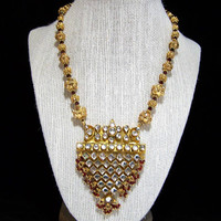India Kundan Bridal Beaded Necklace, Gold Plated Setting, Crystal Glass Stones, Ruby Red Dangling Beads 1117