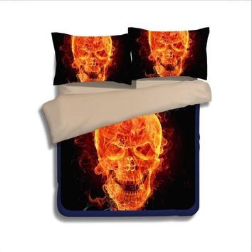 Cool Flaming Skulls fire 3D bedding set Single Twin full queen king size comforter duvet covers bedclothes boy's bedroom decor orangeAT_93_12