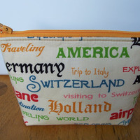Unique World Traveler America Countries Small Zip Pouch/Travel Vacation Bag/Purse/Wallet/Makeup/Change Purse/Phone Gadget Holder
