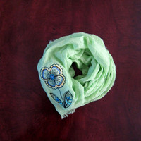 Womens Light Green Lightweight Scarf/Shawl-Sheer Green Summer Scarf-Embroidered Flower Design-Embroidered Green Shawl-Large Green Scarf