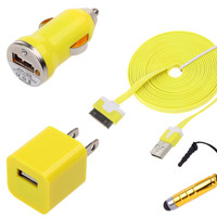 USB AC Home Wall + Car Charger + Data Noodle Cable for iPhone 4S 4G 4 3GS iPod