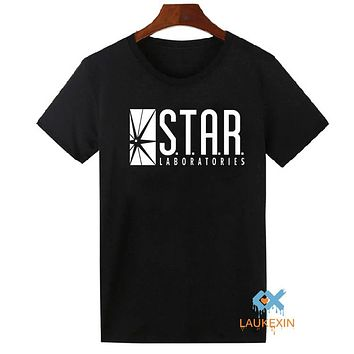 STAR Laboratories T Shirt Top The Flash S.T.A.R. Labs DC Mens T-shirt Camisetas Tees Shirt O-Neck Cotton Plus Size S-2XL