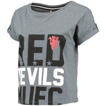 Manchester United Crop Top - Grey Rock Marl - Womens (155496)