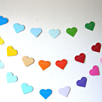 Rainbow Party decor - Paper rainbow heart garland