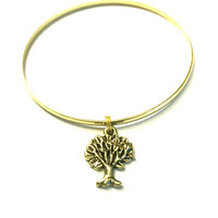 Tree of Life Charm Bracelet - Gold Jewelry - Alex and Ani Inspired - Stacking Bangles