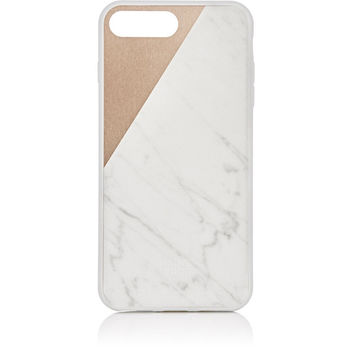 White Marble and Gold Matte iPhone 7 Case