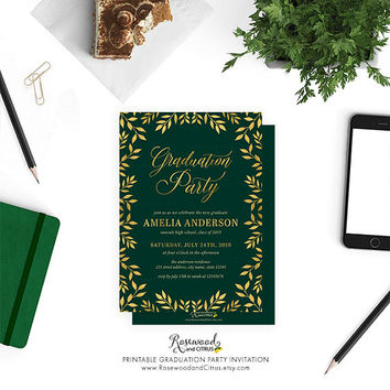 Elegant Graduation Party Invitation, Class of 2017 Graduation Invite, Printable Grad Party Invitation, Green Graduation Invitation, Leaves