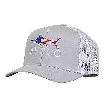 Meric Trucker Hat in Silver by AFTCO