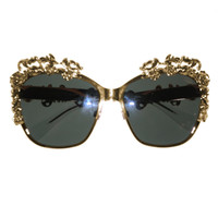 Dolce & Gabbana Gold Plated Floral Embellished Sunglasses - Mint