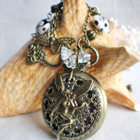 Fairy watch pendant, pocket watch fairy pendant with black and white lentil lampwork beads and bronze accents.