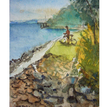 Enjoying the Sea Breeze aceo painting wallart landscape id1360112 original watercolor, not a print, wall art, seascape