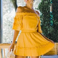 Off Shoulder Ruffle Short Dress Women Elegant Party Dress Casual Dress