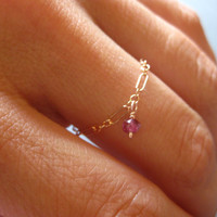 Rose Gold Chain Ring with Birthstone Dangle - Dainty  Personalized Your Choice of Birthstone