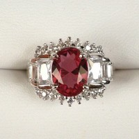 Ruby Topaz Gemstone Ring with Diamond Accents from GemEnvy