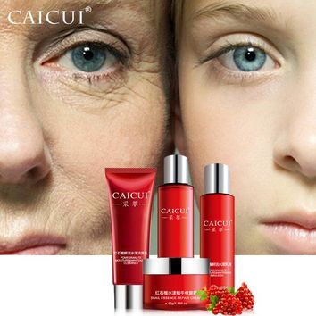 CAICUI skin care set  foam cleanser face toner emulsion snail whitening moist anti wrinkle beauty cosmetic sets face care