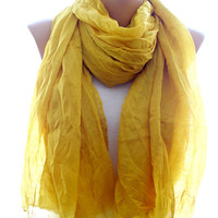 Yellow scarf, crinkle yellow scarf, scarves for women, cozy scarf, trendy scarf