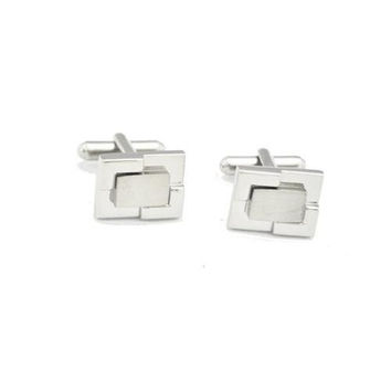 MG Gifts - Brass Cufflinks W/A Pair (Nickel Color/Brush Finishing) In Black Card Board Box