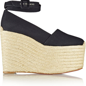 Christian Louboutin - Dehia 160 canvas wedge espadrilles
