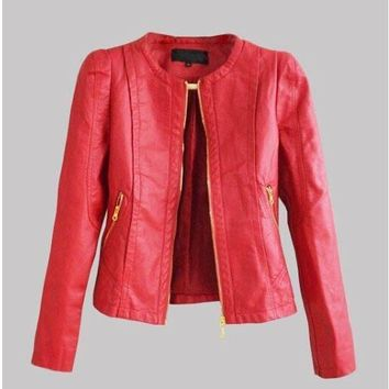 Starlist woman Faux Jacket fashion Long Sleeve Metal Zipper O-Neck Cool Motorcycle leather Jacket fashion Pocket Outwear