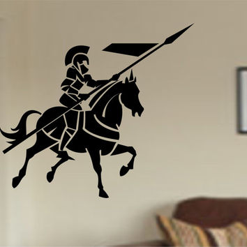 Medieval knight Warrior with horse  Vinyl Wall Decal Sticker Art Decor Bedroom Design Mural interior design boys room