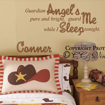 Guardian Angel Lil Cowboy Prayer with Personalized Name Decal
