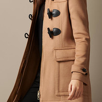 Detachable Fur Trim Fitted Duffle Coat