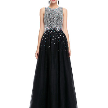 Women Ball Gowns Long Evening Dresses with Crystals 2016 Engagement Dress Sexy Formal Gown Floor Length Tulle Evening Dress 0081