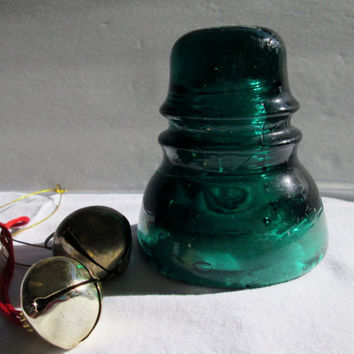 Vintage Dark Aqua Green Glass Insulator Brookfield Collectible