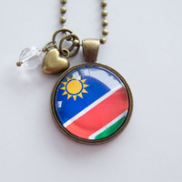 Flag of Namibia Necklace - Namibian Flag - World Flags - Patriotic Pendant - African Flag - Custom Jewelry - Travel Necklace - Flag Jewelry