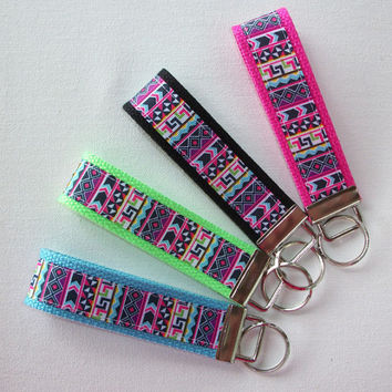 Key FOB / Key Chain / Wristlet  - Aztec south western on your choice of background - design your own - teachers gift coworker bridesmaids