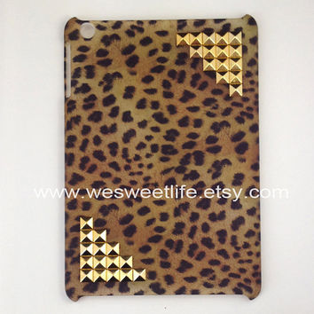 iPad mini Case golden studded with Leopard Decal by wesweetlife