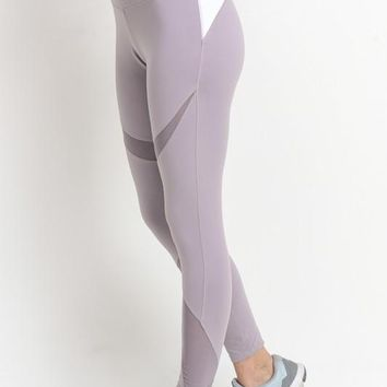Lavender Mesh Panel Leggings