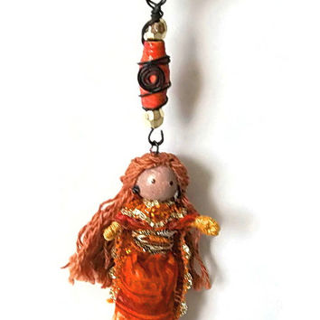 Hannah, Ethnic Middle East, BENDY DOLL and NECKLACE, Unique, Waldorf inspired, handcrafted, miniature doll, whimsical gift, toy, jewelry