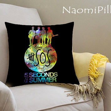 5SOS Seconds Of Summer Pillow Cover Printed_18x18,16x24,20x30_Modern Pillow Case_Decorative Throw Pillow Case_One Side Printing